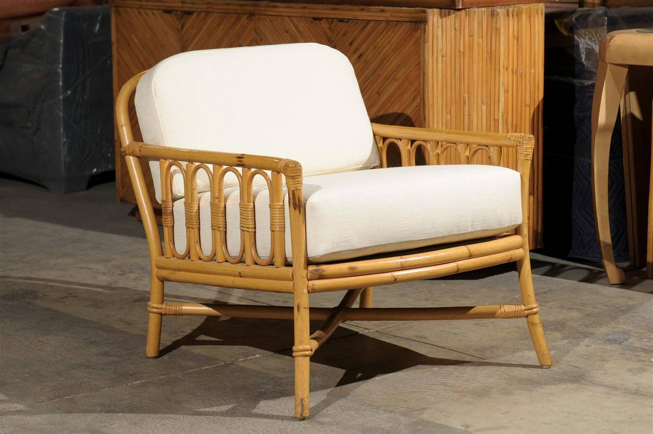 Decorative Pair of Vintage Rattan Lounge Chairs by Ficks