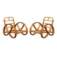 Restored Pair of Rattan Pretzel Lounge Chairs in the Style of Paul Frankl