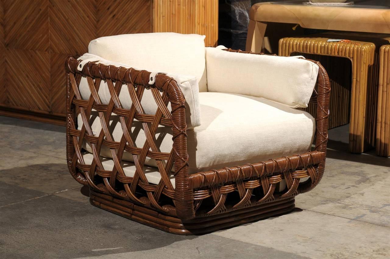 Fantastic Pair Of Vintage Rattan Basket Loungers By Danny