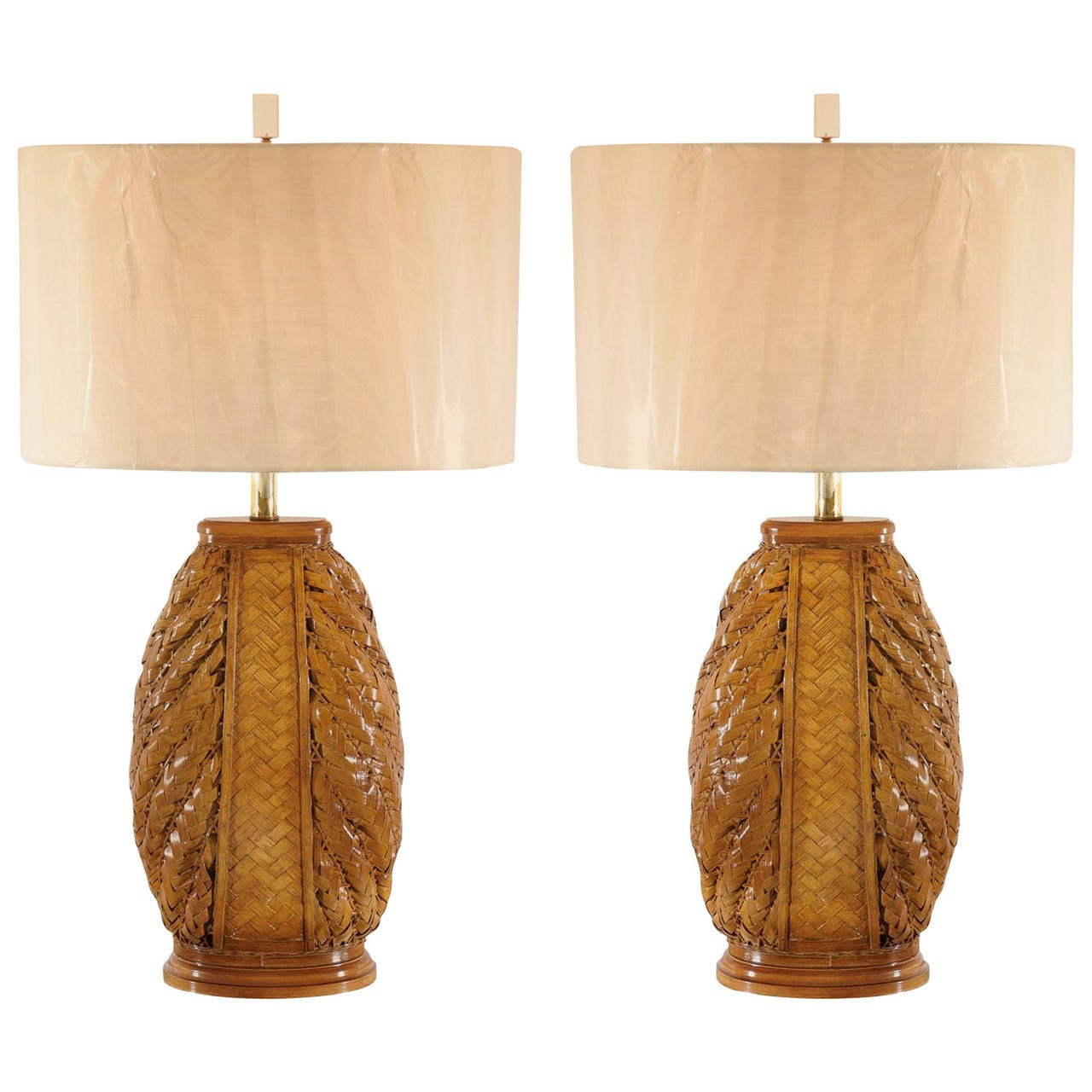 Pair of Modern Rattan Lamps with Brass and Lucite Accents