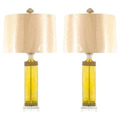 Pair of Vintage Blown Glass Lamps with Pewter Detail