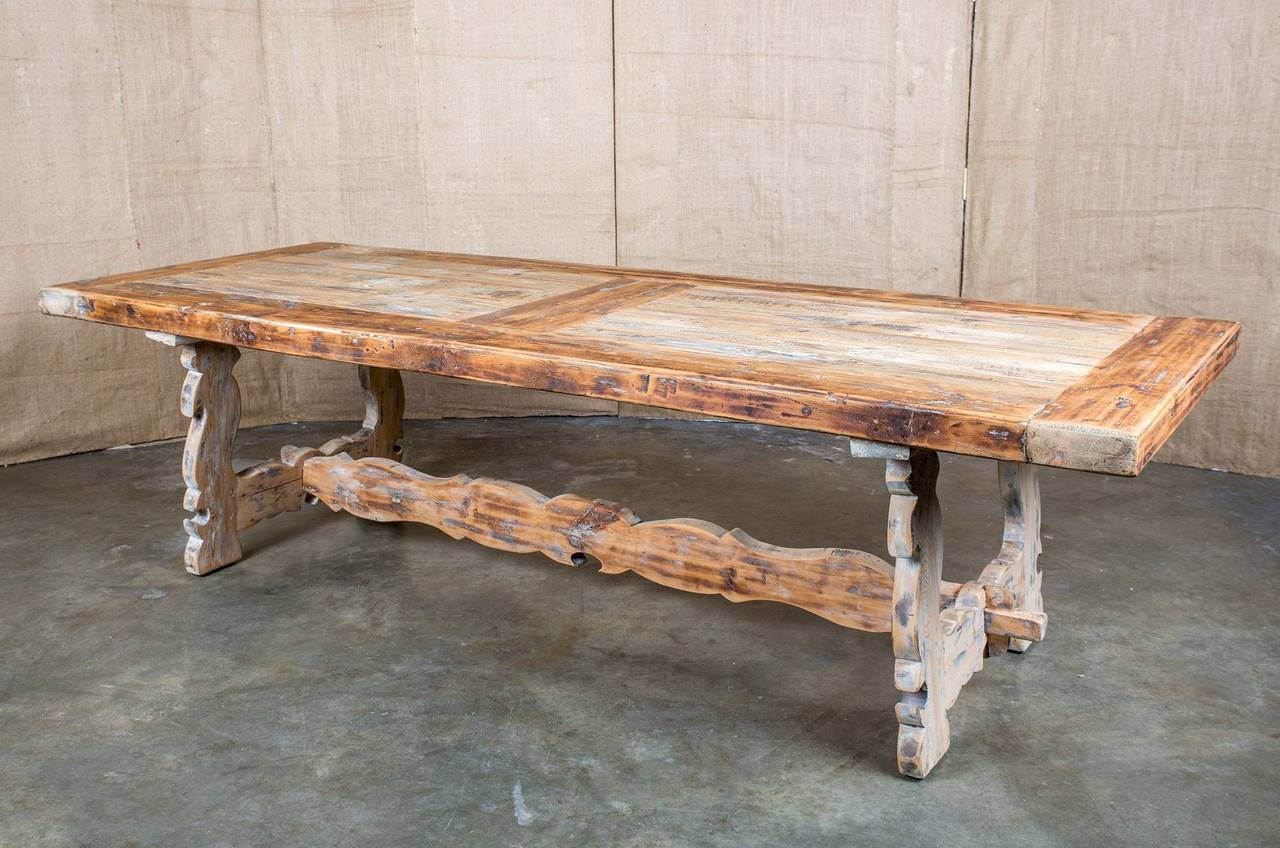 French Lyre-Leg Trestle Table at 1stdibs