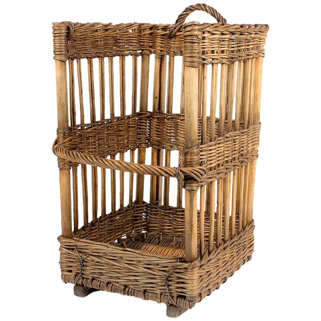 large open sided french baguette basket at 1stdibs. Black Bedroom Furniture Sets. Home Design Ideas