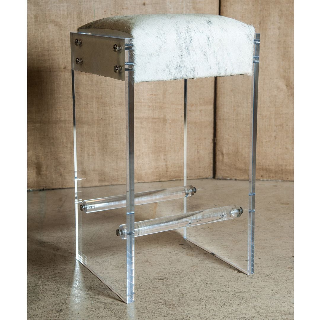 Maurice Lucite And Hide Bar Stool At 1stdibs