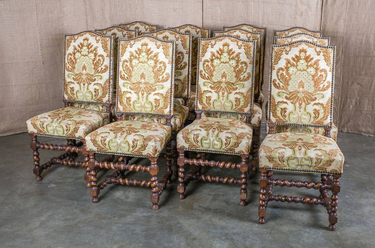 Set Of 12 Louis Xiii Barley Twist Dining Chairs At 1stdibs