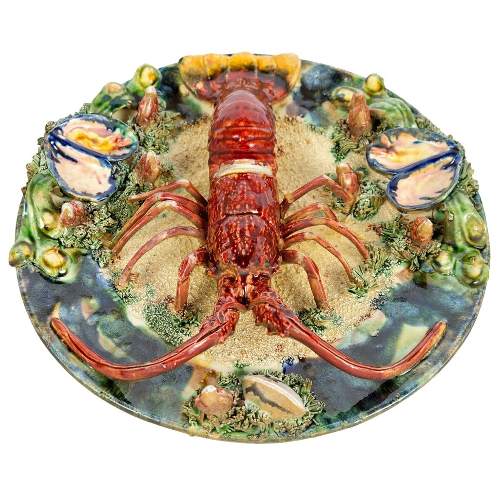 palissy style majolica trompe l 39 oeil spiny lobster plate. Black Bedroom Furniture Sets. Home Design Ideas