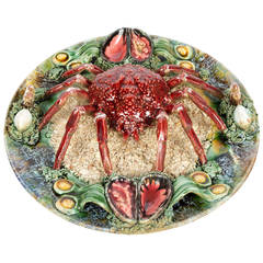 Palissy Style Majolica Trompe-l'oeil Spider Crab Plate