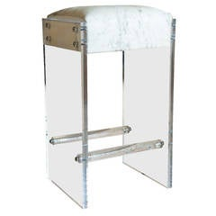 Maurice Lucite and Hide Bar Stool
