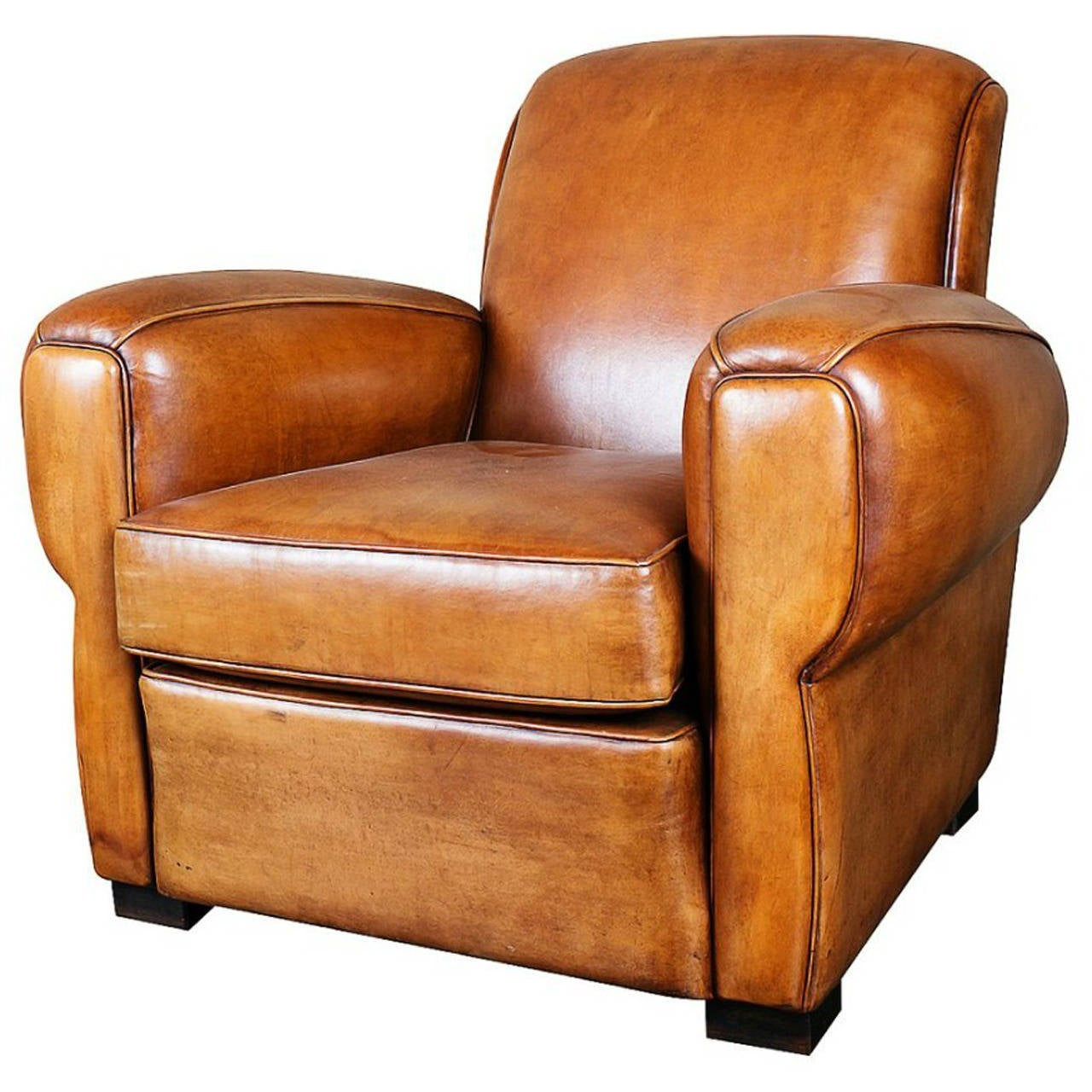 French Art Deco Leather Club Chair 1  sc 1 st  1stDibs & French Art Deco Leather Club Chair at 1stdibs islam-shia.org