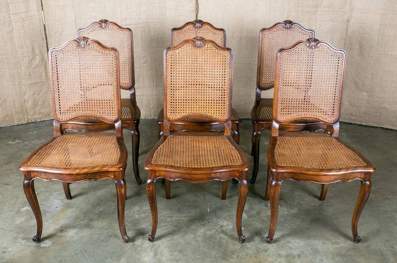 French Provincial Home Decor Set Of 6 French Louis Xv Style Cane Dining Chairs At 1stdibs