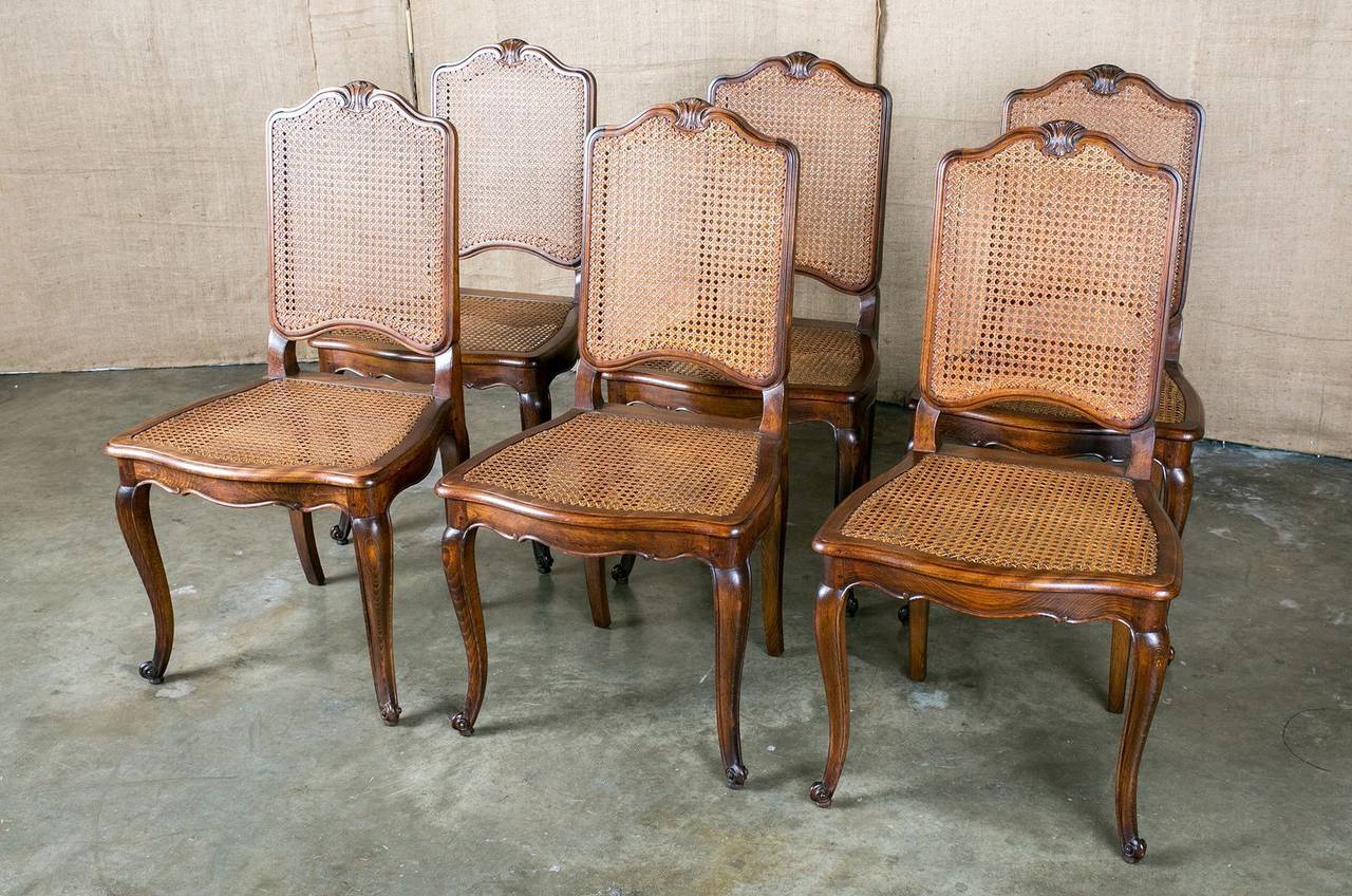 Cane Dining Room Chairs Set Of 6 French Louis Xv Style Cane Dining Chairs At 1stdibs
