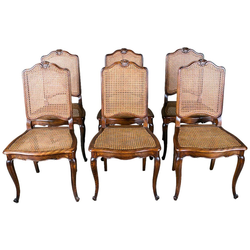Louis xv dining chair - Set Of 6 French Louis Xv Style Cane Dining Chairs 1