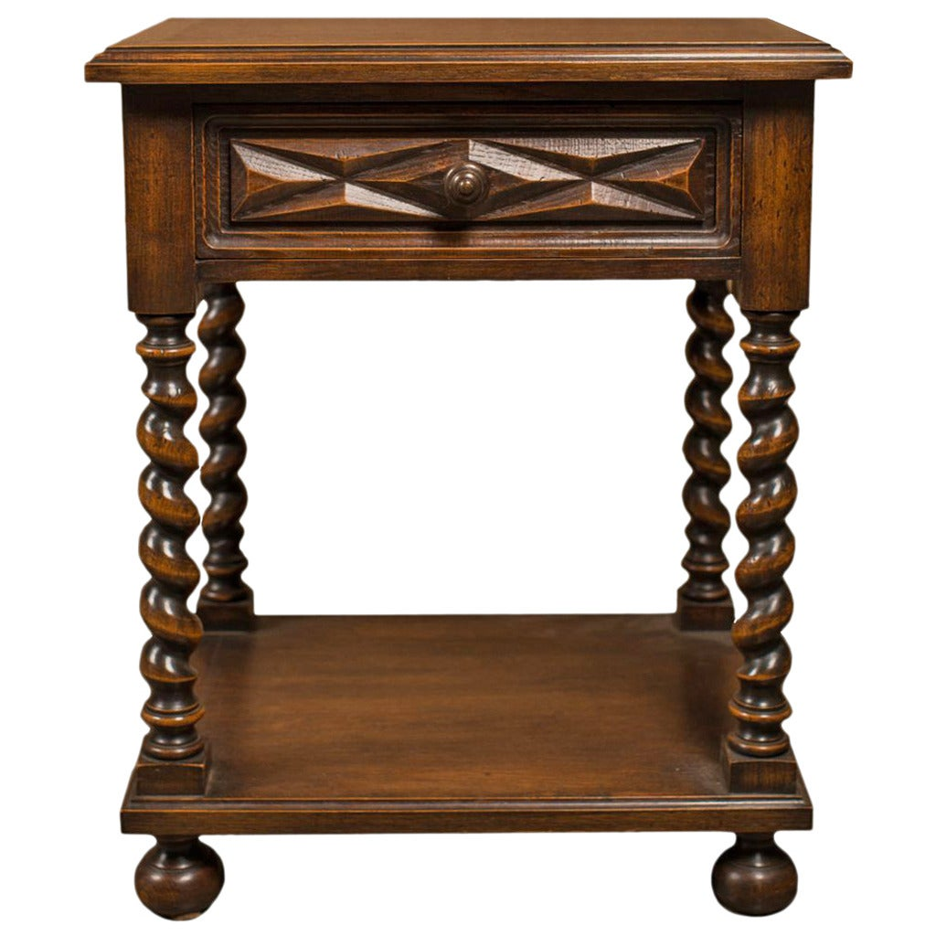 french louis xiii style side table with barley twist legs at 1stdibs. Black Bedroom Furniture Sets. Home Design Ideas