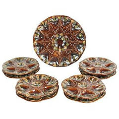Set of Eight French Majolica Oyster Plates and Master Server