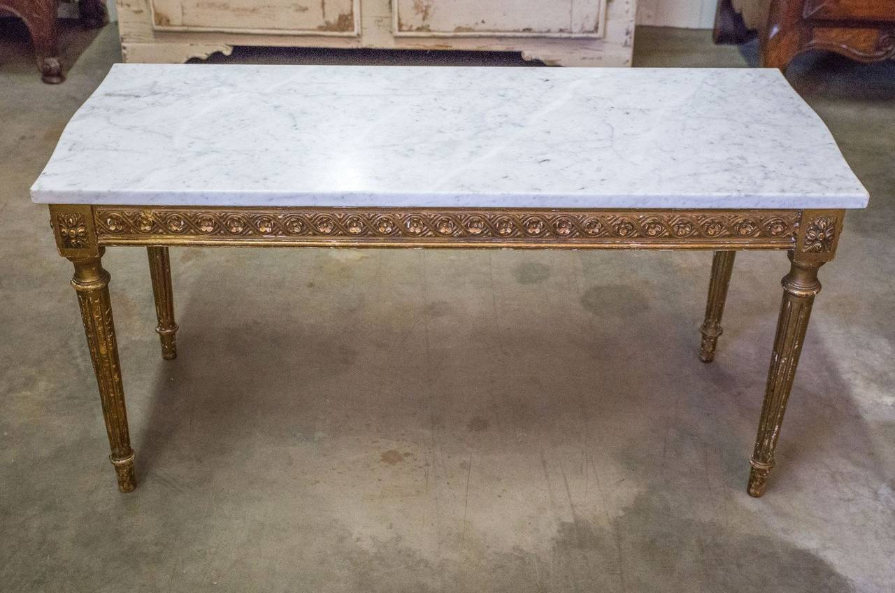 Captivating French Louis XVI Style Gilded Coffee Table With Marble Top 3