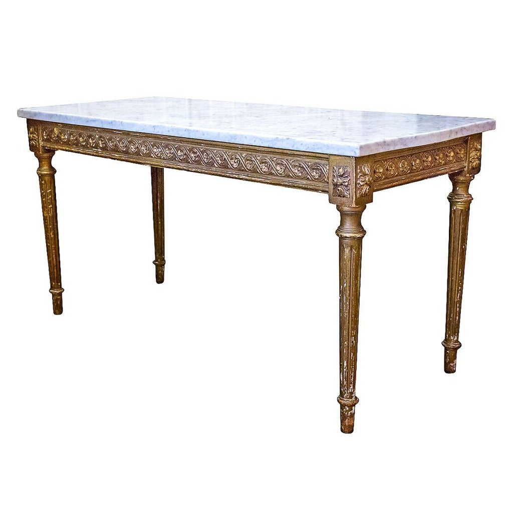 French Louis Xvi Style Gilded Coffee Table With Marble Top For Sale At 1stdibs