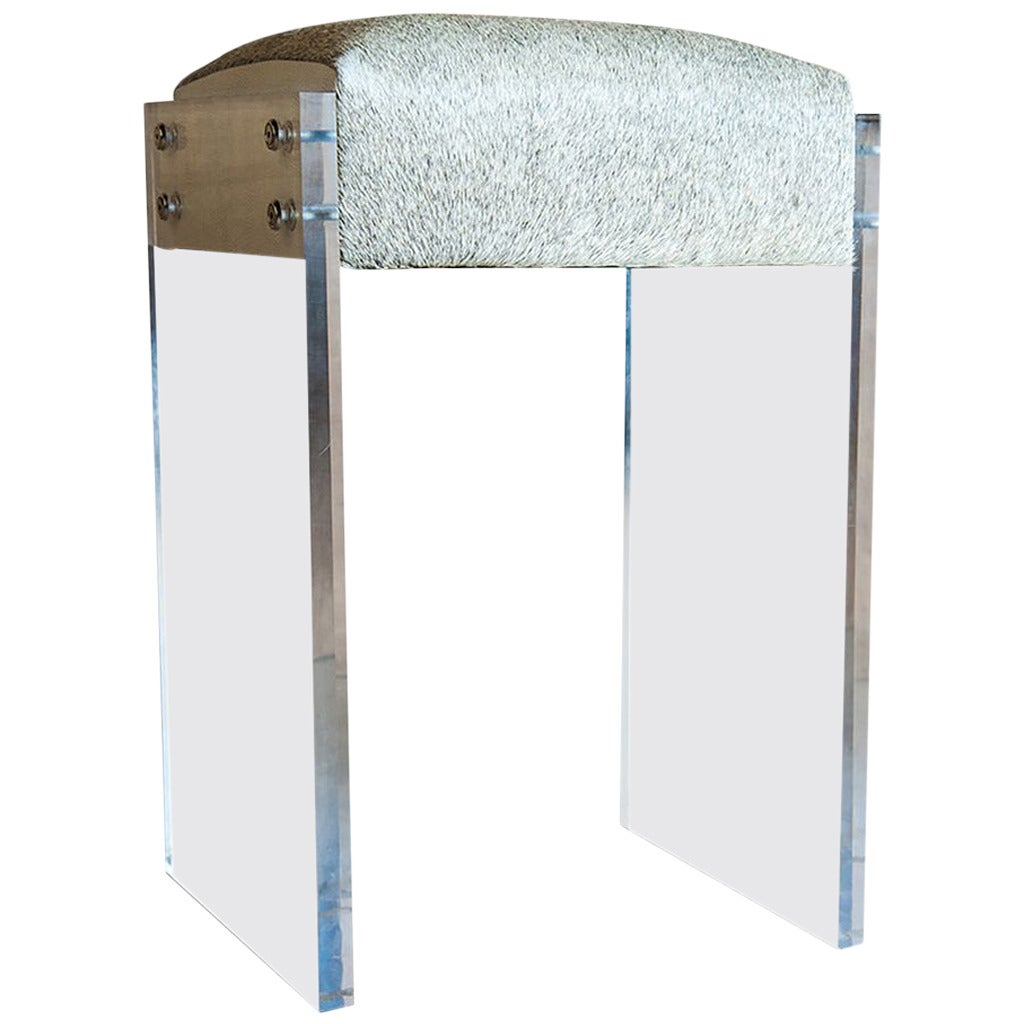Gigi Lucite And Hide Counter Stool For Sale At 1stdibs