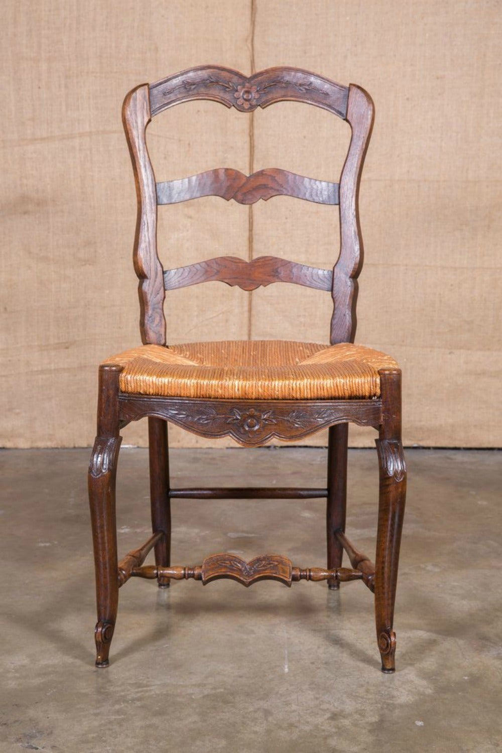 Set of eight country french antique provencal rush seat Ladder back chairs