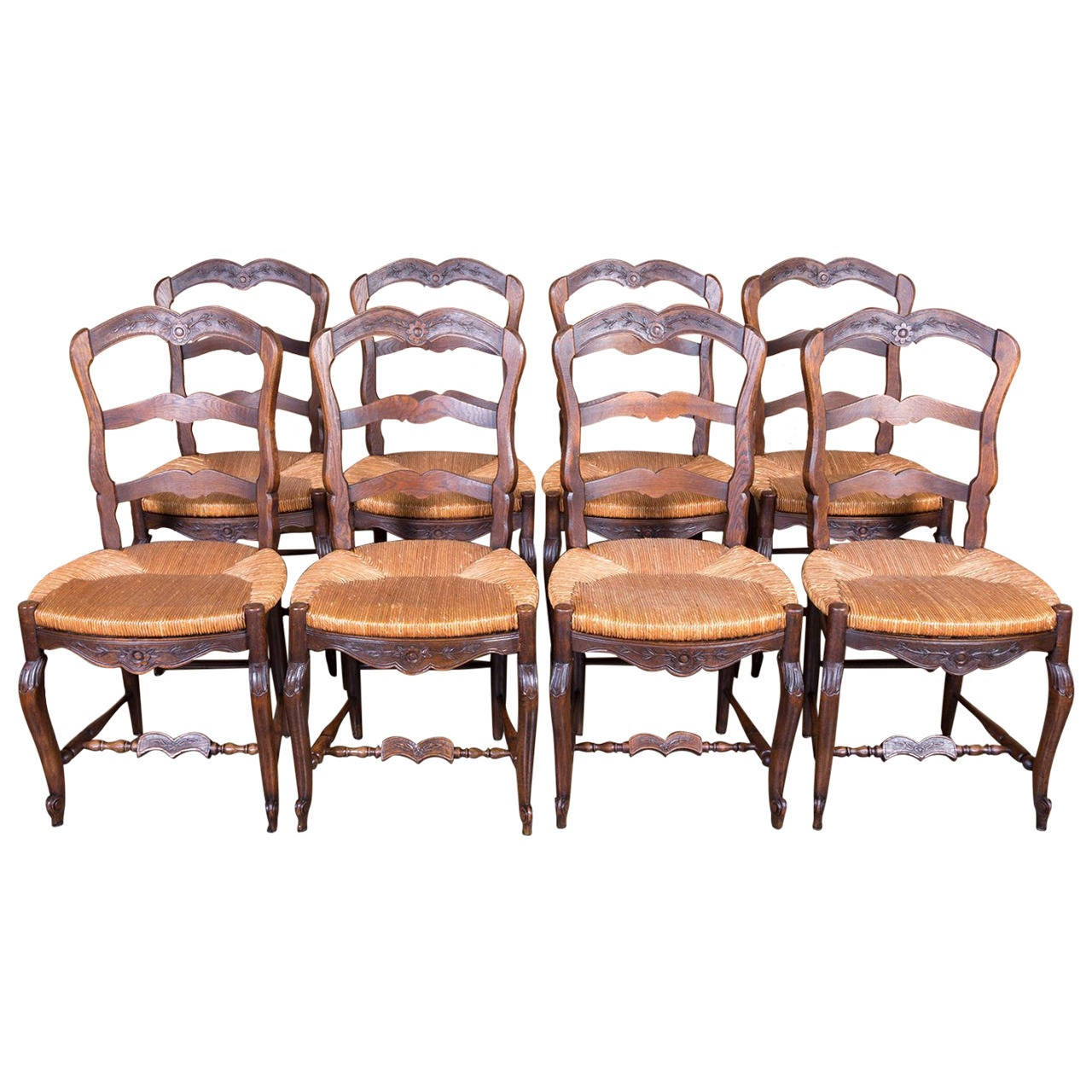 High Quality Set Of Eight Country French Antique Provencal Rush Seat Ladder Back Chairs 1