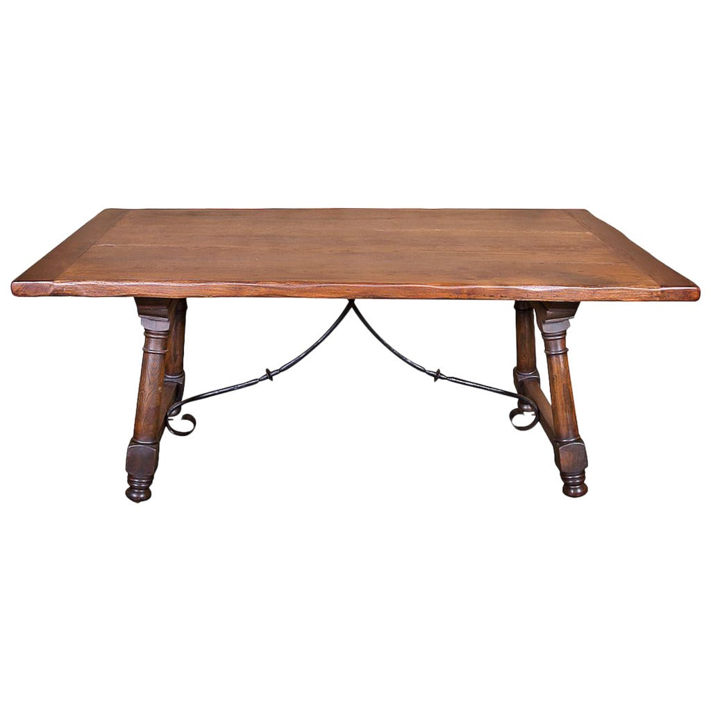 Antique Spanish Trestle Table with iron Stretcher at 1stdibs : 2489982 1 from www.1stdibs.com size 1024 x 1024 jpeg 55kB