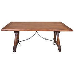 Antique Spanish Trestle Table with iron Stretcher