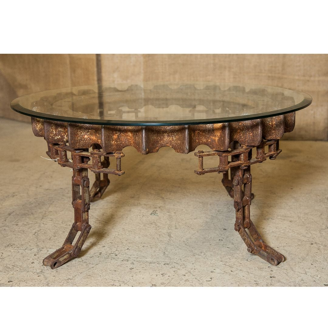 Industrial Style Round Coffee Table: Round Industrial Gear Coffee Table With Glass Top For Sale