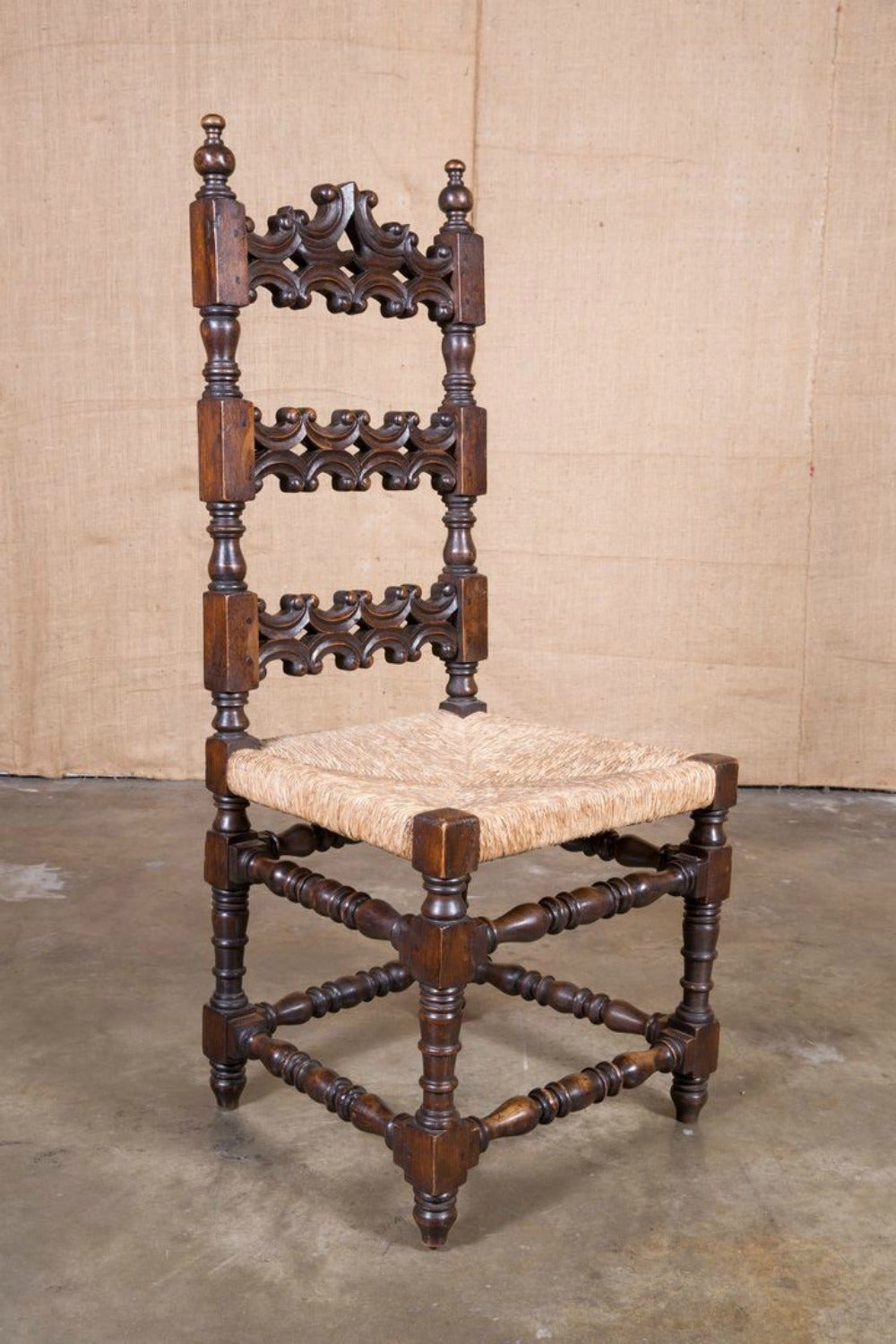 French Renaissance Style Rush Seat Ladder Back Dining Chairs, Set Of Six 3