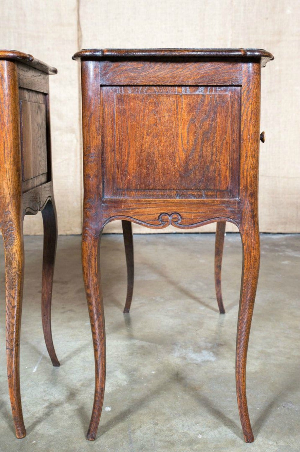 pair of louis xv style chevets with tambour doors at 1stdibs. Black Bedroom Furniture Sets. Home Design Ideas