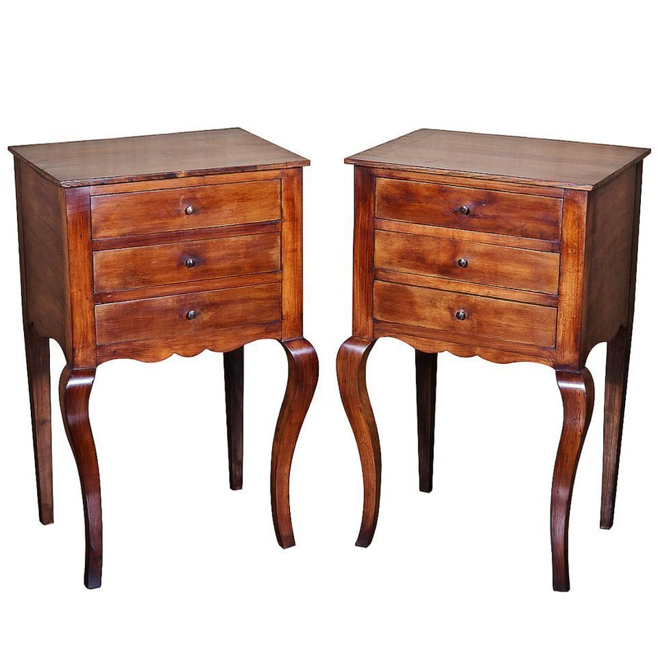 Pair of cherrywood french provincial louis xv style side tables at 1stdibs - Table louis xv ...