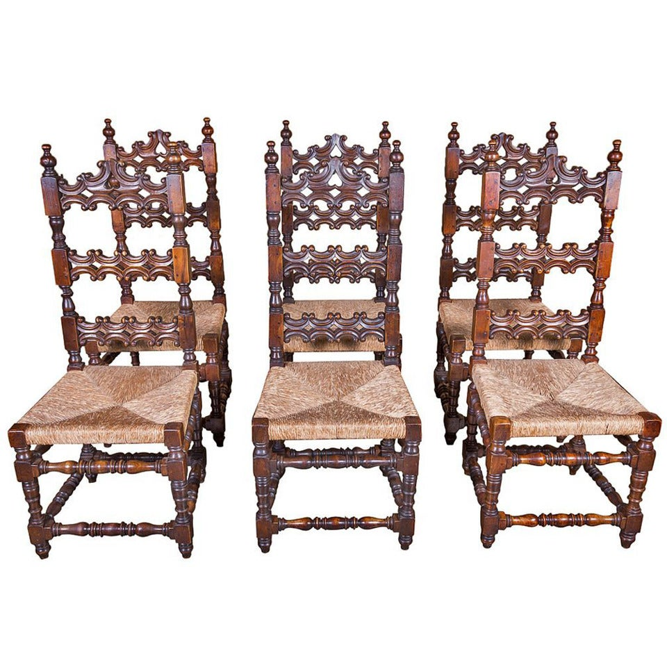 French renaissance style rush seat ladder back dining Ladder back chairs