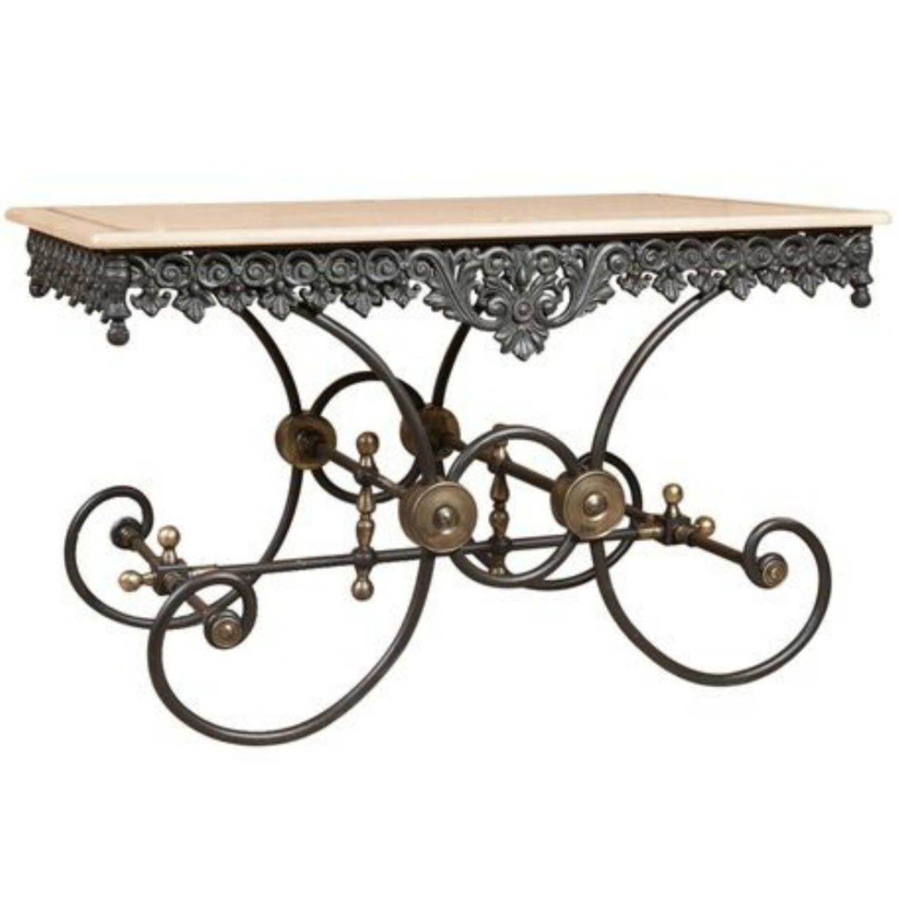 Amazing French Butcher Or Pastry Table With Marble Top 1
