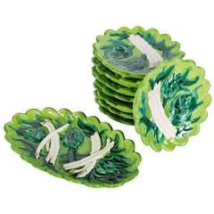 Set of 8 Atelier Cerenne Majolica Asparagus Plates and Server