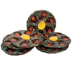 Set of Six French Majolica Oyster Plates
