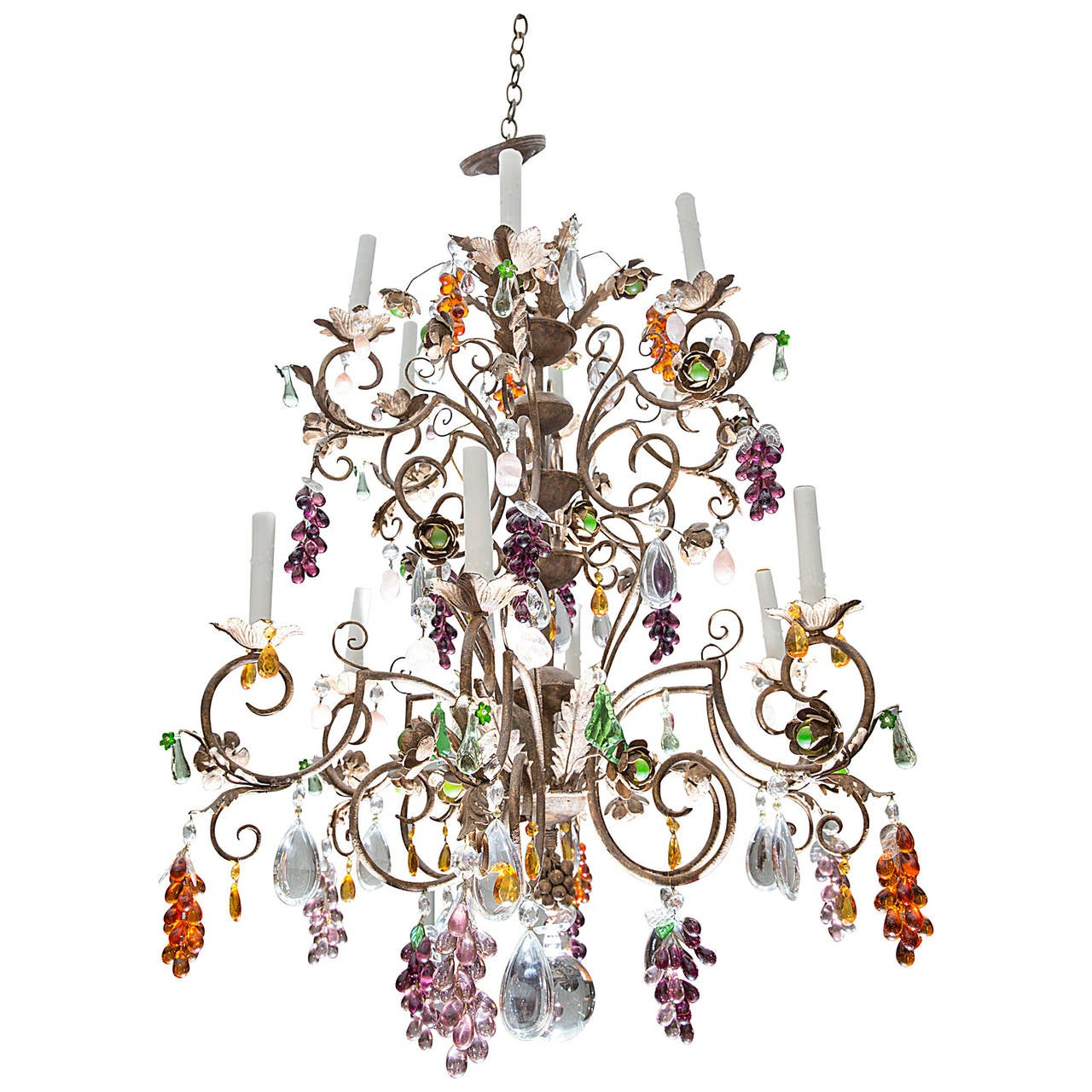 Louis XV Style TwelveLight Iron Chandelier with Colored Fruit – Fruit Chandelier