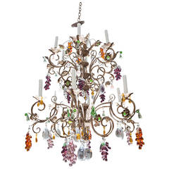 Louis XV Style Twelve-Light Iron Chandelier with Colored Fruit Shaped Crystals