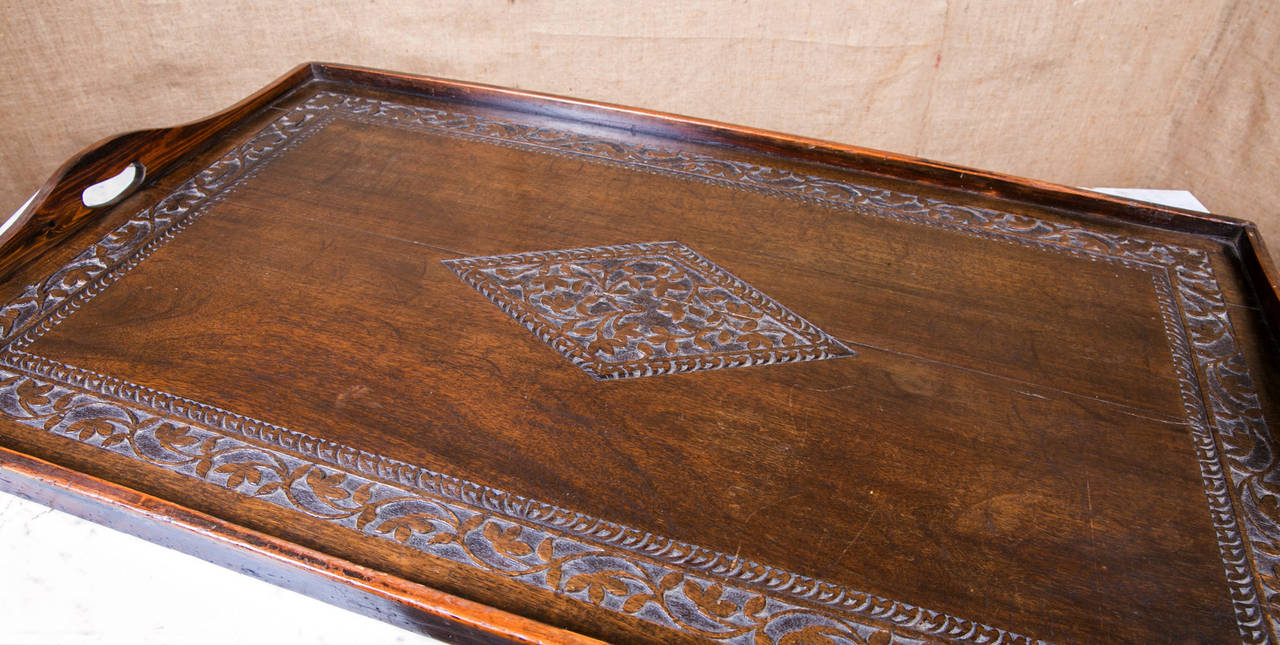 Large 19th Century Country French Wooden Tray With Handles