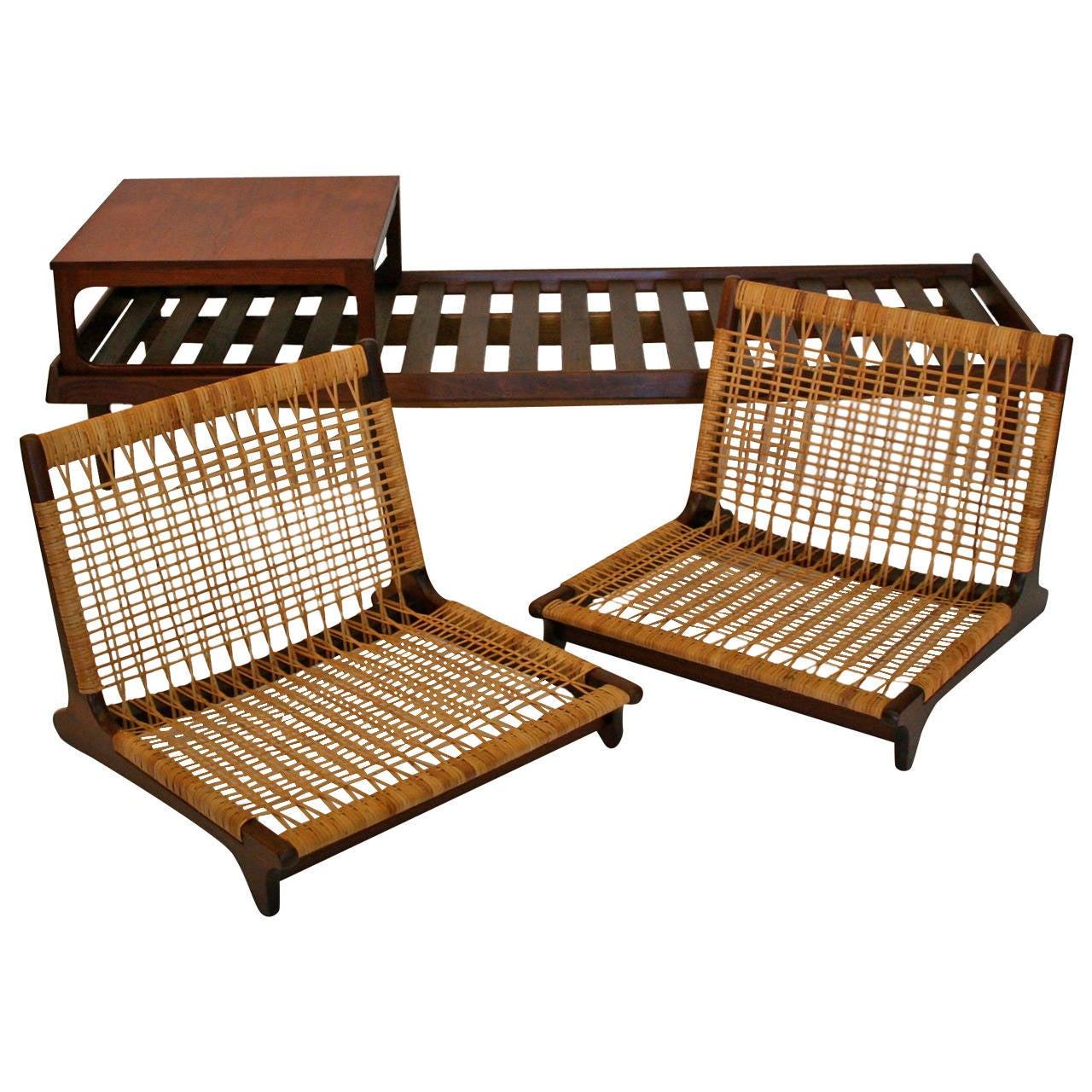 Hans Olsen Modular Teak And Cane Sofa Set At 1stdibs