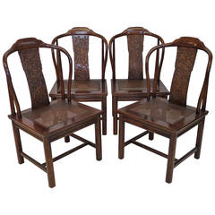 Set of Four Asian Inspired Chairs by Henredon Furniture
