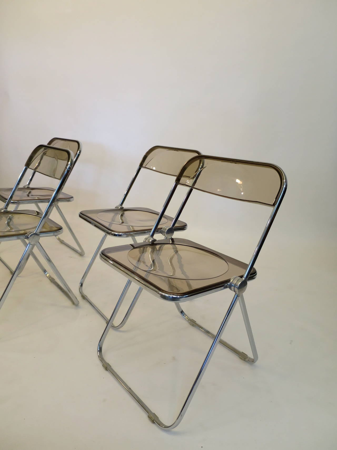 Four Lucite and Aluminum Folding Plia Chairs by Castelli at 1stdibs