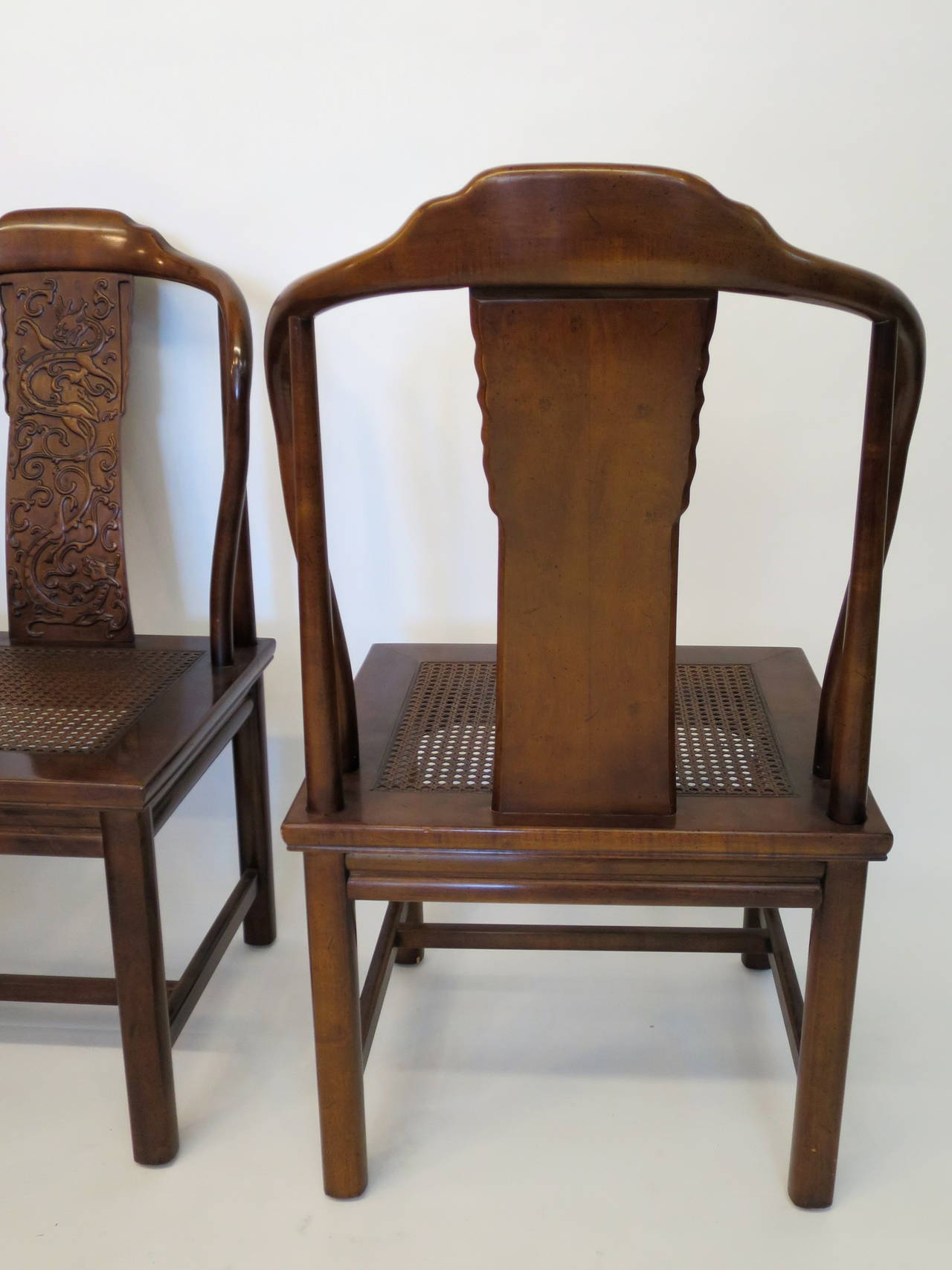set of four asian inspired chairs by henredon furniture at