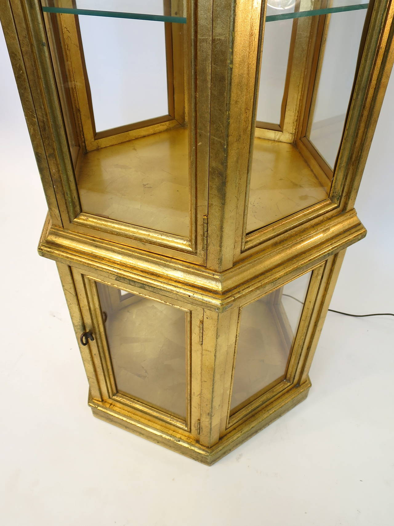 Weiman Furniture Company Gold Leaf Curio Cabinet Or Vitrine At 1stdibs