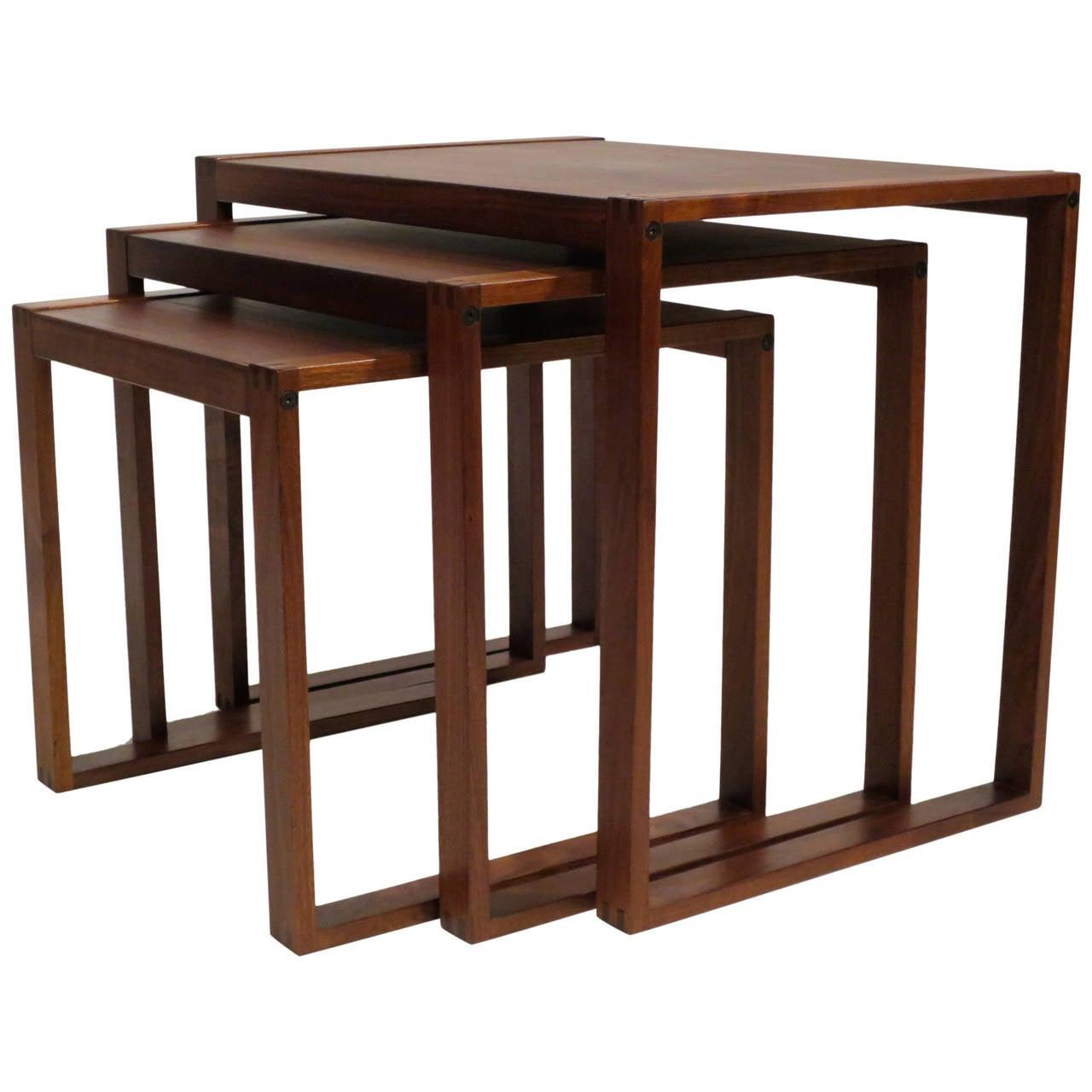 Contemporary Nesting Tables ~ Set of danish modern walnut nesting tables at stdibs