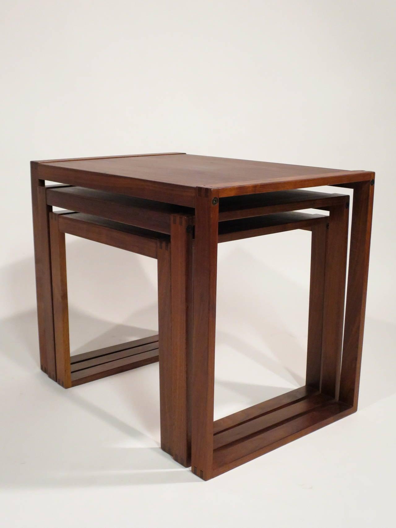 Set of danish modern walnut nesting tables at stdibs