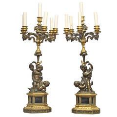 Pair of Bronze and Gilt Bronze Figural Candelabra, 19th Century