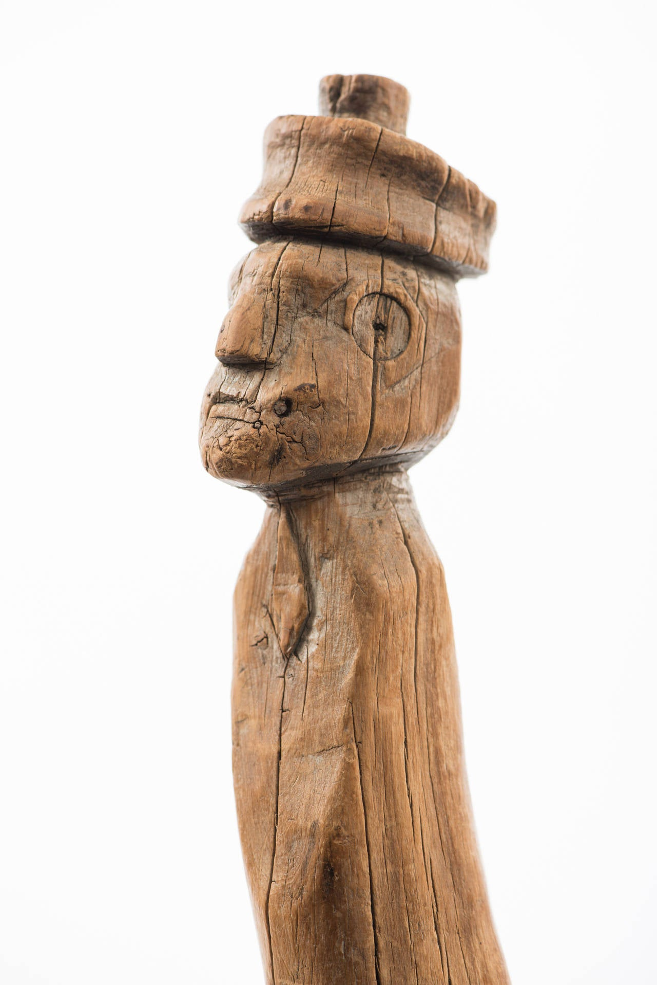 Folk Art Carved Folk Figure Cane with Branch Legs For Sale