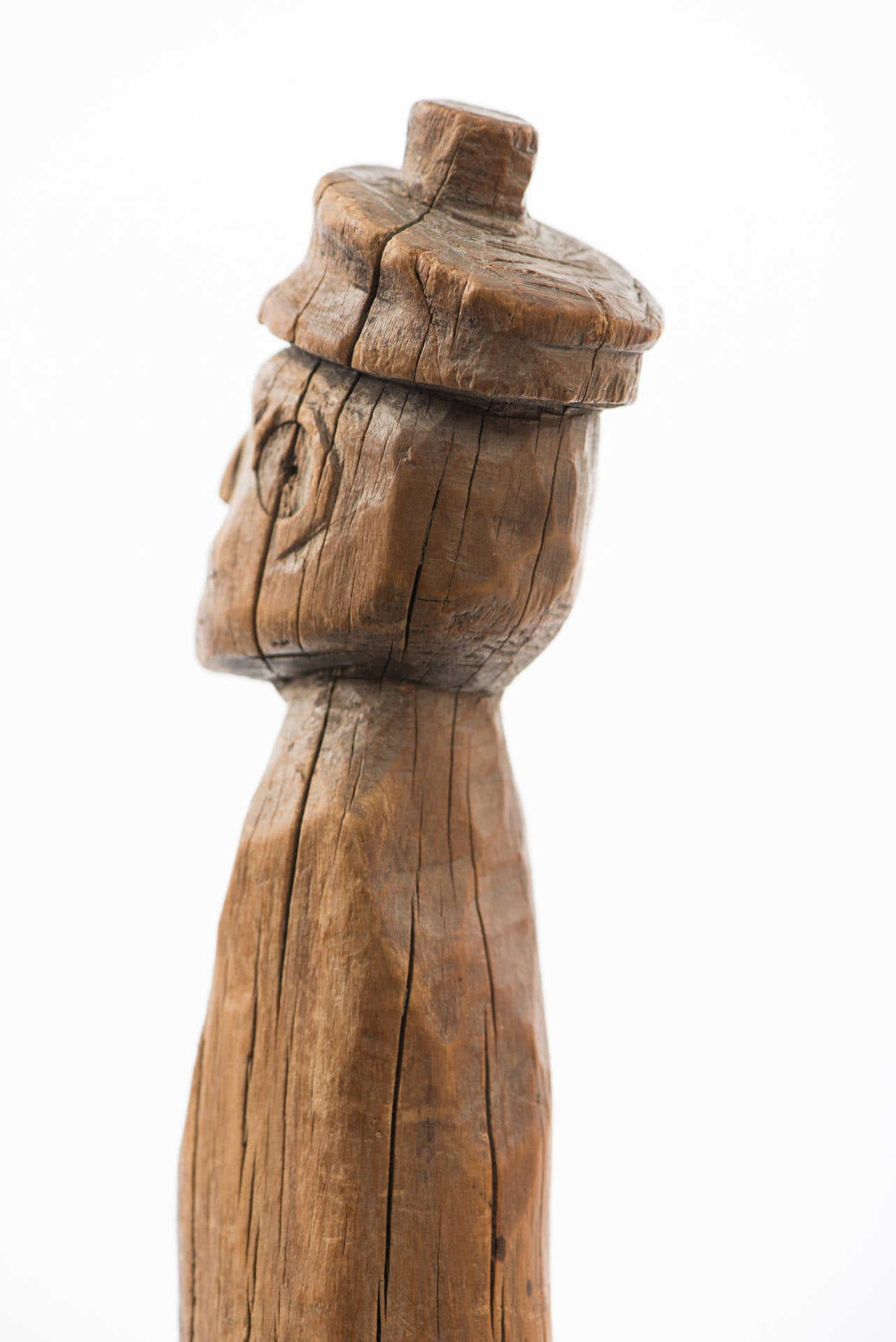 20th Century Carved Folk Figure Cane with Branch Legs For Sale