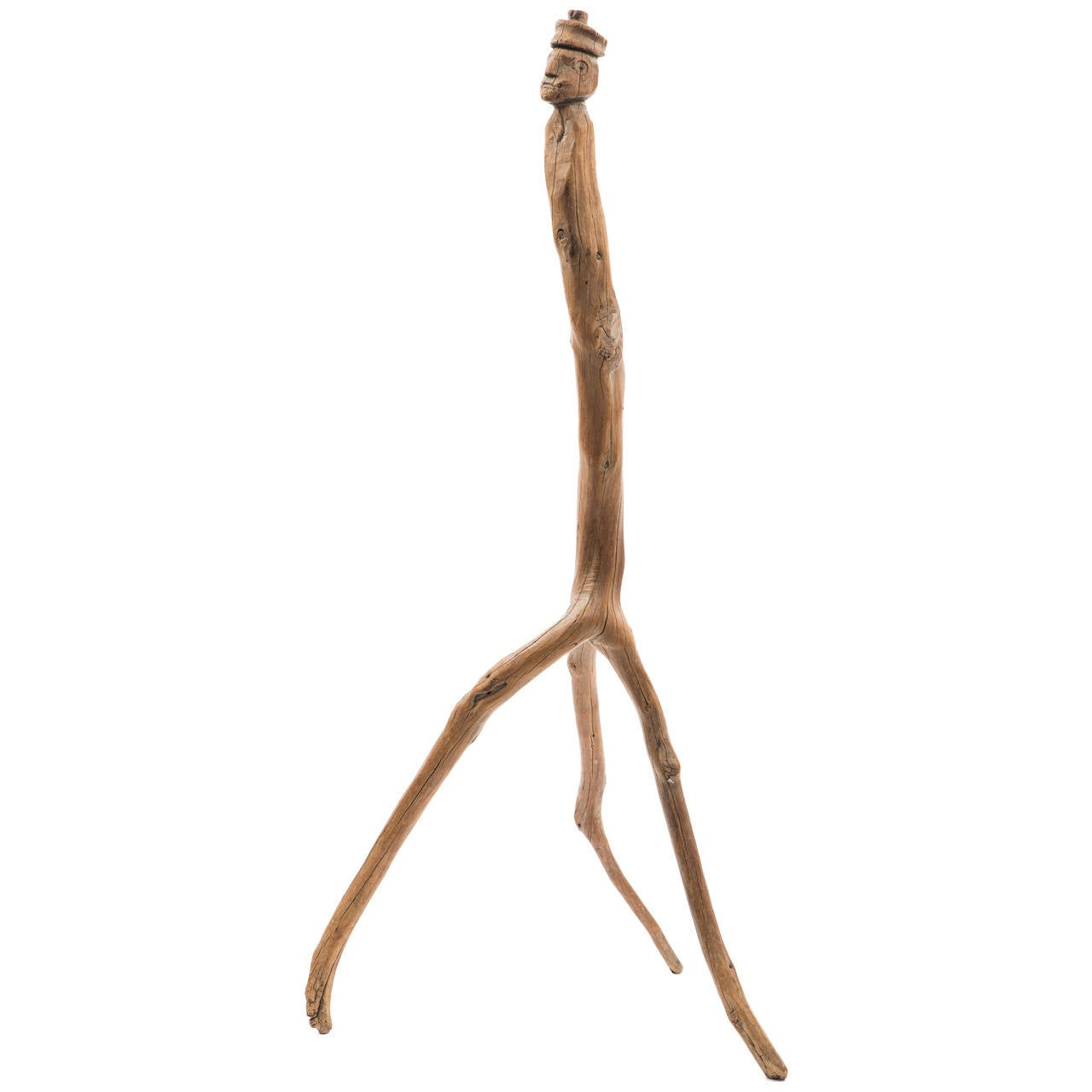 Carved Folk Figure Cane with Branch Legs