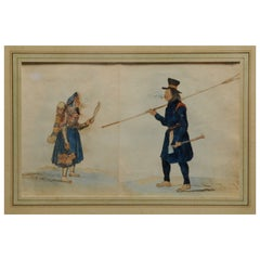 Antique Native American Watercolor, 19th Century