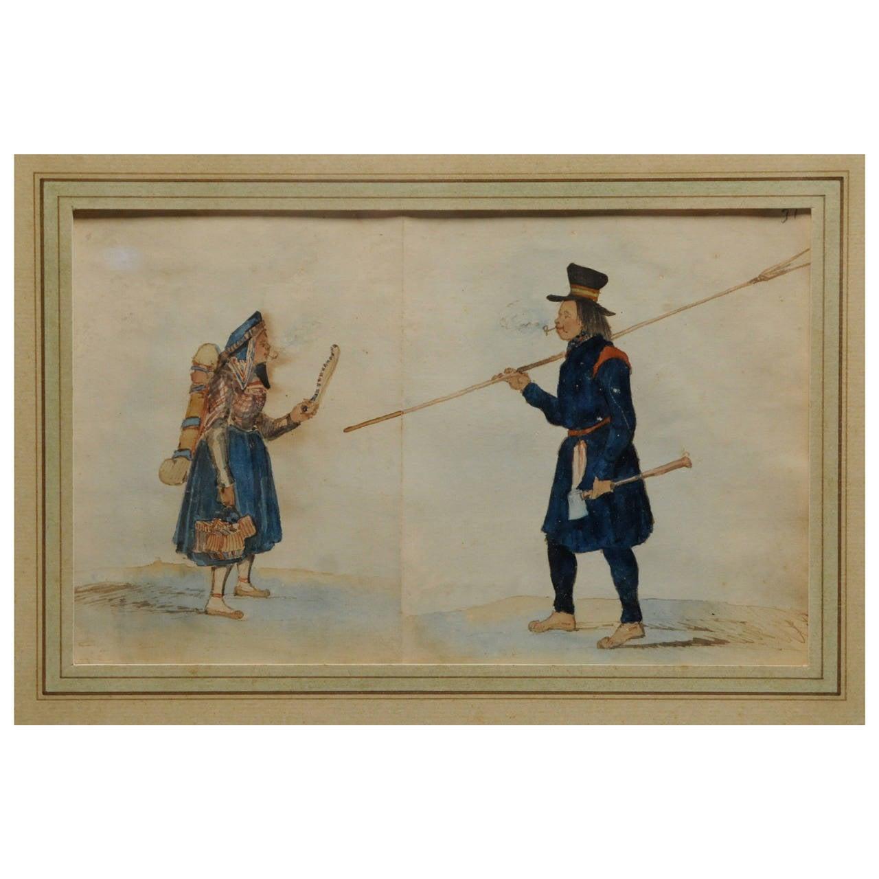 Antique Native American Watercolor, 19th Century