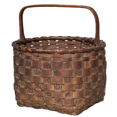 Antique Native American Basket with Handle, 19th Century